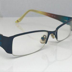 Nine West Eyeglasses Frame Blue/Yellow Tone Glasse